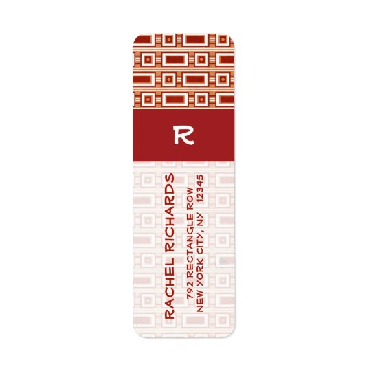 Retro Rectangles Return Address Label - Red