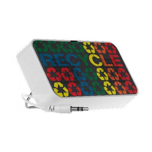 Retro Recycle Rainbow Doodle Speakers
