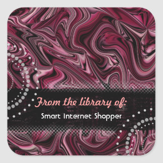 Retro Red Abstract Bookplate Stickers