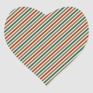 Retro Red and Blue Diagonal Stripes Heart Sticker