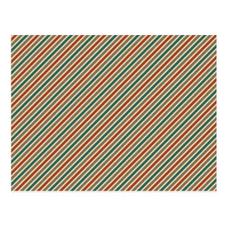 Retro Red and Blue Diagonal Stripes Postcard
