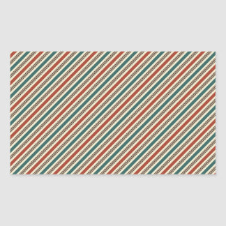 Retro Red and Blue Diagonal Stripes Rectangular Stickers