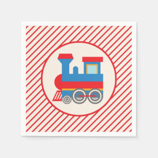 Retro Red and Blue Train Paper Serviettes