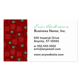 Retro Red and Green Boxes pattern Pack Of Standard Business Cards