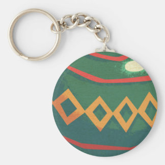 Retro Red and Green Christmas Ornaments Basic Round Button Key Ring