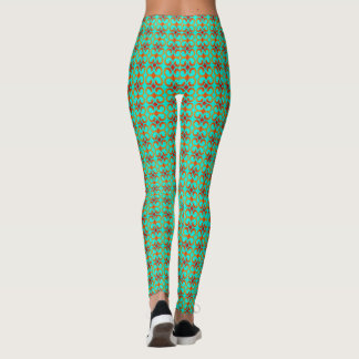 Retro Red and Green Pattern Leggings