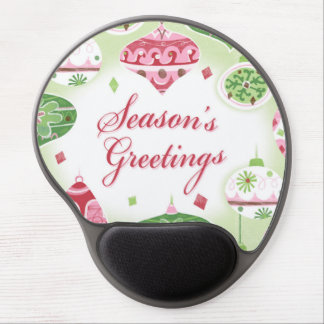 Retro Red and Green Season's Greetings Pattern Gel Mouse Pad