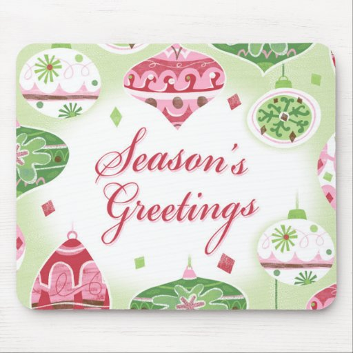 Retro Red and Green Season's Greetings Pattern Mousepad