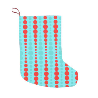 Retro Red and Turquoise Dots Christmas Stocking