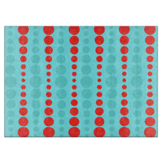 Retro Red and Turquoise Dots Cutting Board