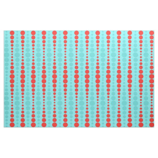 Retro Red and Turquoise Dots Fabric