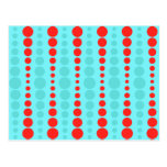 Retro Red and Turquoise Dots Postcard