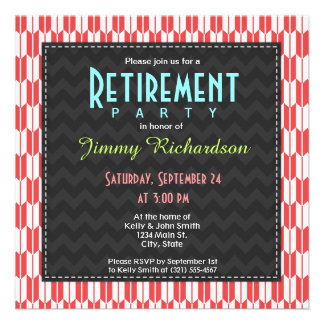 Retro Red and White Arrow Tails Pattern Custom Invites