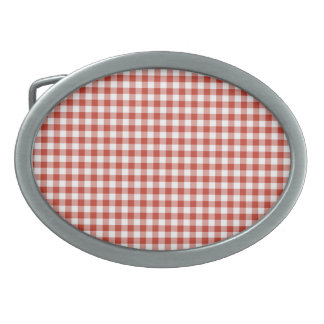 Retro Red and White Checkered Gingham Oval Belt Buckle