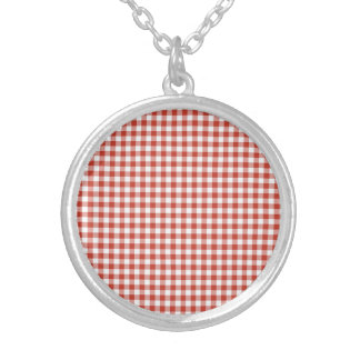 Retro Red and White Checkered Gingham Necklaces