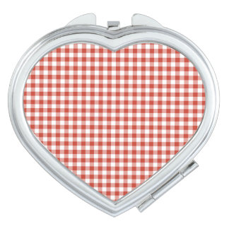 Retro Red and White Checkered Gingham Travel Mirror