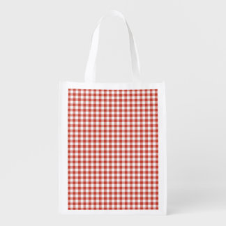 Retro Red and White Checkered Gingham Reusable Grocery Bags