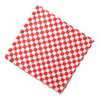 Retro Red and White Checkered Rose Bandana