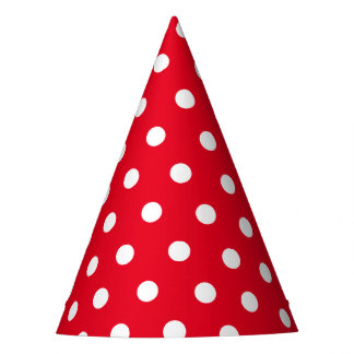 Retro Red and White Dots Party Hat