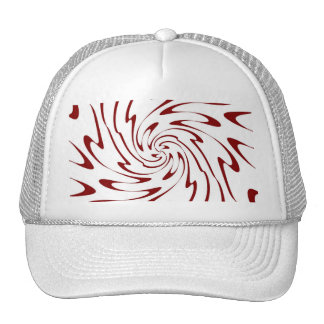 Retro Red and White Waves Abstract Art Cap