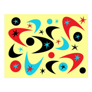 Retro Red Black & Aqua Starburst Boomerang Postcard