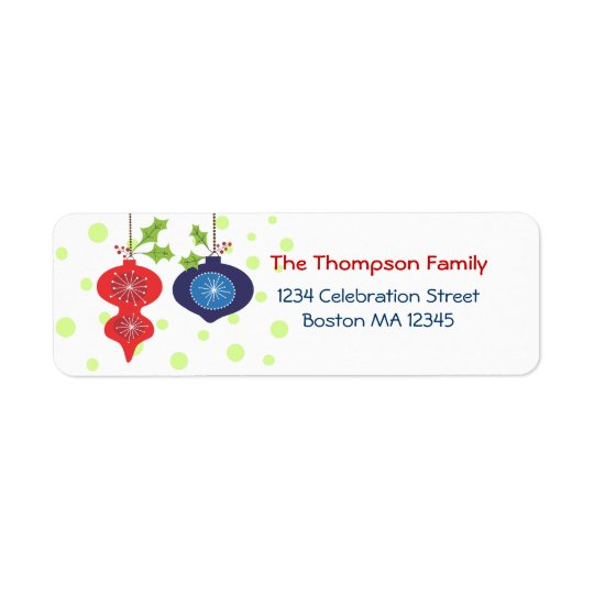 Retro Red & Blue Ornament Holiday Address Labels