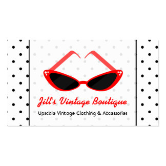 Retro Red Cat Eye Sunglasses & Black Polka Dots Pack Of Standard Business Cards