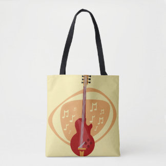 Retro Red Cool Guitar Tote Bag