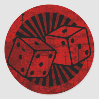 Retro Red Dice Classic Round Sticker
