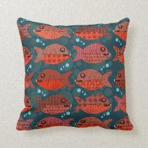 Retro Red Fish Swimming Cushion