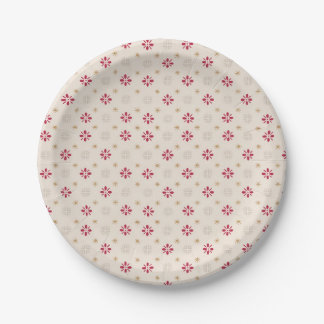 Retro Red Flower Gold Star Vintage Wallpaper Paper Plate