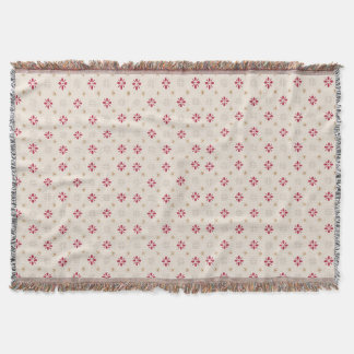 Retro Red Flower Gold Star Vintage Wallpaper Throw Blanket