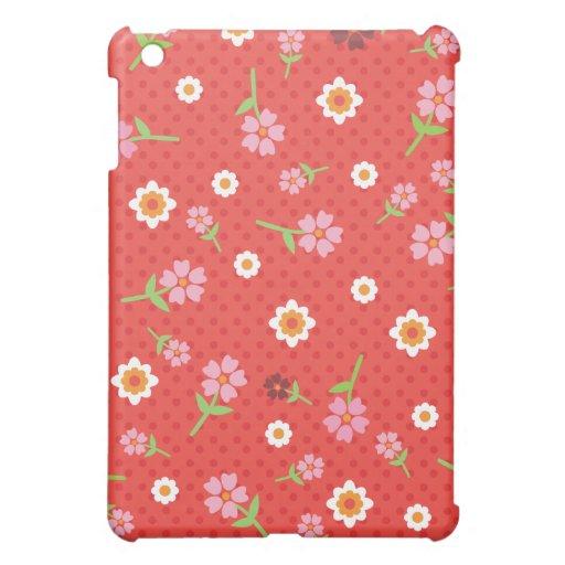 Retro red flower polka dot design ipad case