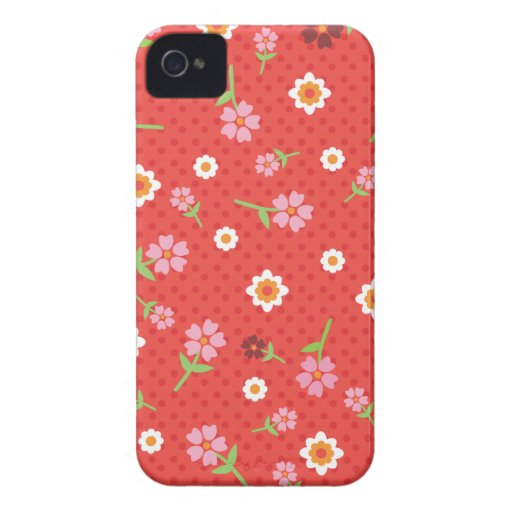 Retro red flower polka dot design iphone case iPhone 4 cases