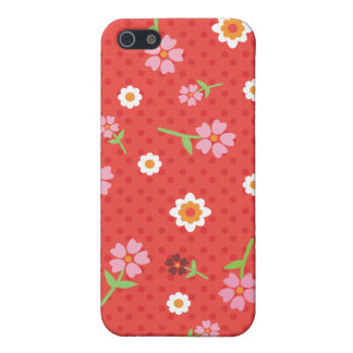 Retro red flower polka dot design iphone case case for iPhone 5