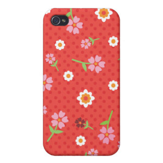 Retro red flower polka dot design iphone case iPhone 4/4S cases