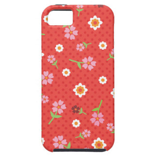 Retro red flower polka dot design iphone case iPhone 5 cases