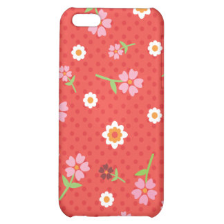 Retro red flower polka dot design iphone case iPhone 5C case