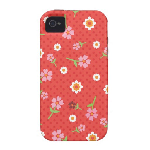 Retro red flower polka dot design iphone case iPhone 4/4S cover