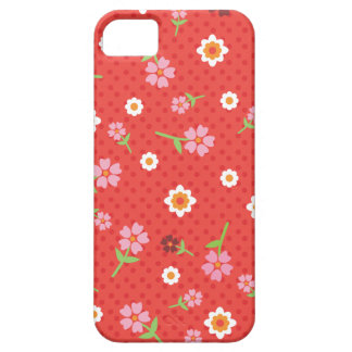Retro red flower polka dot design iphone case barely there iPhone 5 case