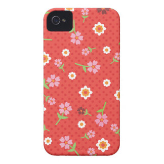 Retro red flower polka dot design iphone case iPhone 4 case