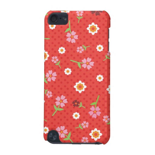 Retro red flower polka dot design ipod case iPod touch (5th generation) cases