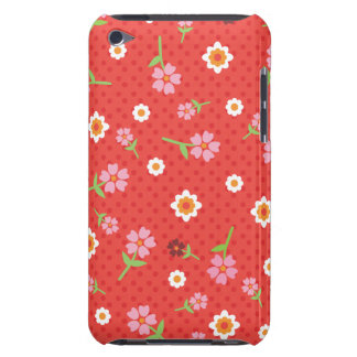 Retro red flower polka dot design ipod case barely there iPod covers