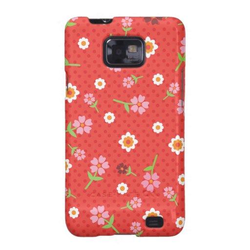 Retro red flower polka dot design samsung case samsung galaxy covers