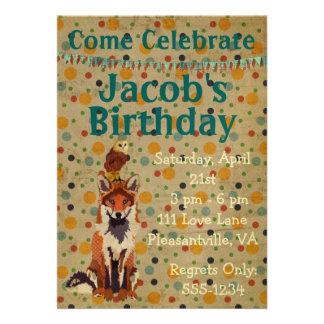 Retro Red Fox Owl Birthday Invitation