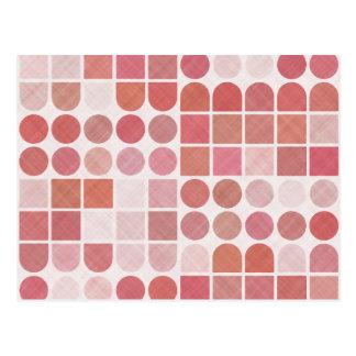 Retro Red Geometric Pattern Postcard