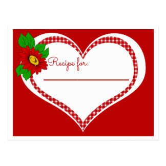 Retro Red Gingham Heart and Flower Recipe Postcard