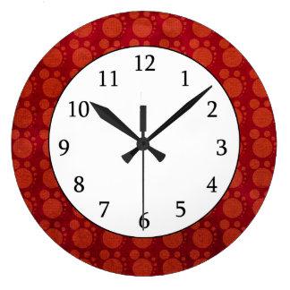 Retro Red Grungy Polka Dots Pattern Clocks