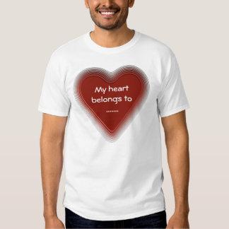 Retro red heart belongs to t shirt