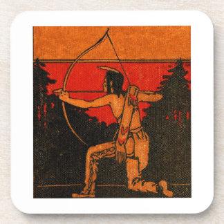 Retro red Indian Cork Coaster